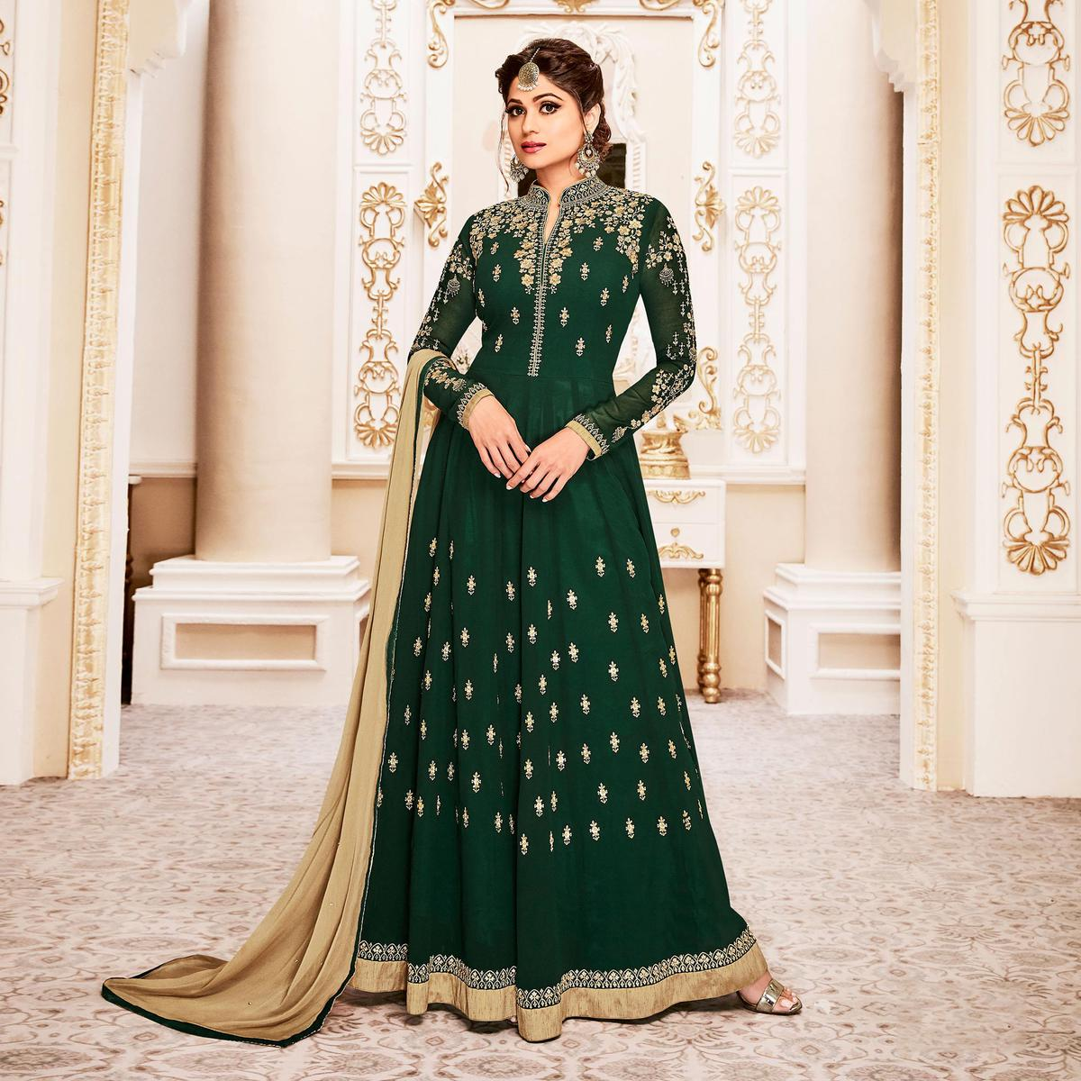Gorgeous Green Colored Designer Embroidered Georgette Anarkali Suit