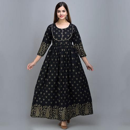 Zyla - Black Colored Piping Cotton Anarkali