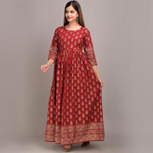 Zyla - Maroon Colored Kairi Cotton Anarkali