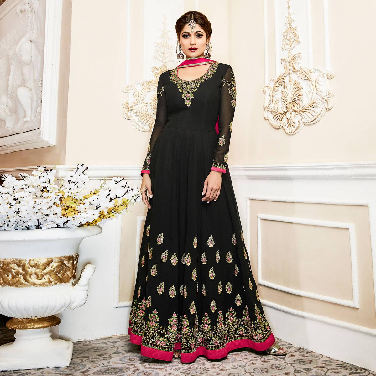 Sizzling Black Colored Designer Embroidered Georgette Anarkali Suit