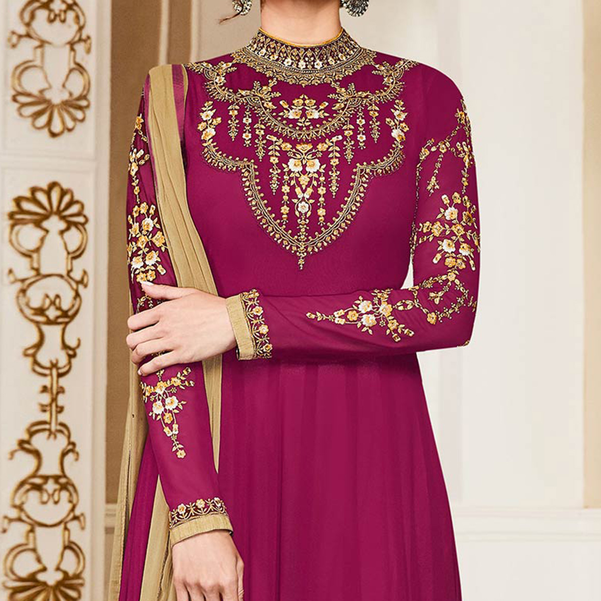 Dazzling Magenta Colored Designer Embroidered Georgette Anarkali Suit