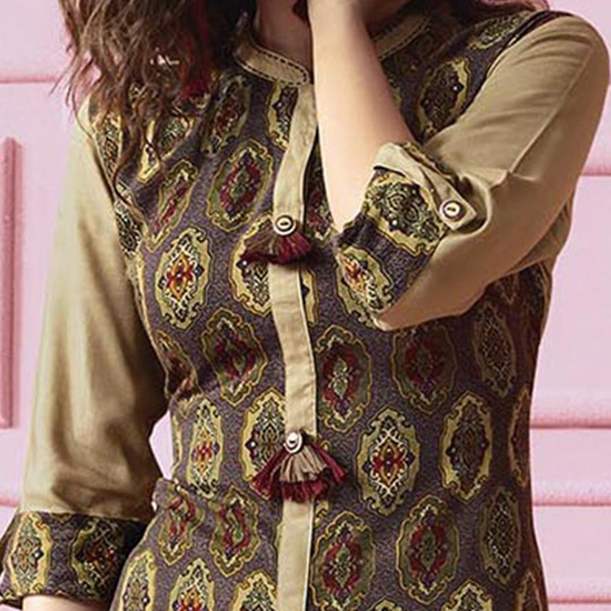 Dazzling Dark Brown Colored Designer Partywear Printed Heavy Rayon Kurti