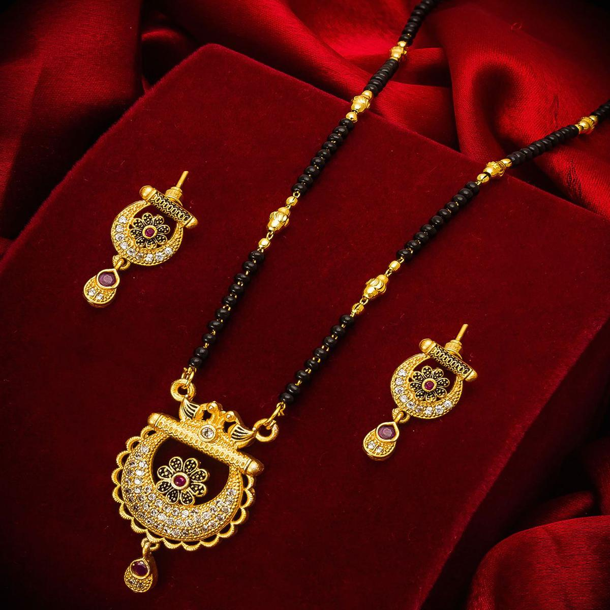 Vihaa Jewels - Alloy Gold Plated Traditional Mangalsutra For Women