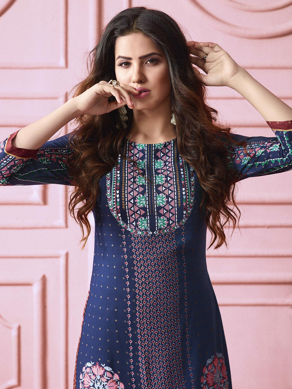Beautiful Blue Colored Designer Partywear Printed Heavy Rayon Kurti