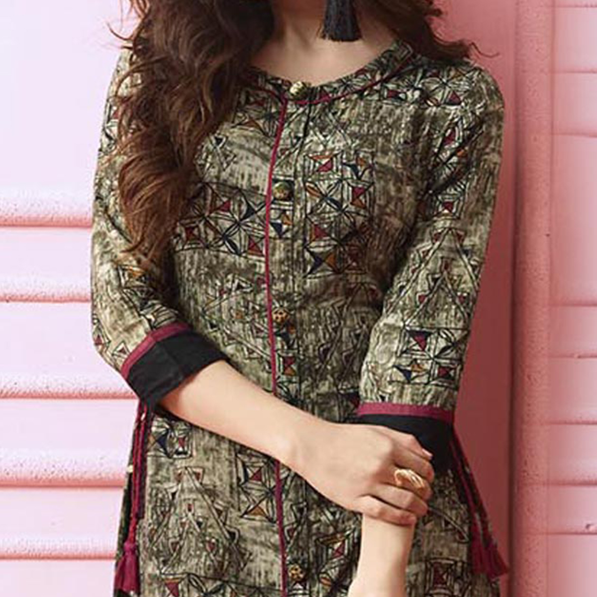 Trendy Multi Colored Designer Partywear Printed Heavy Rayon Kurti