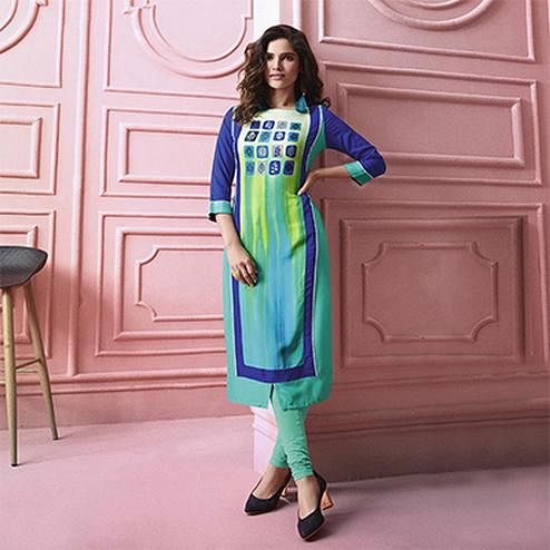 Stunning Green-Blue Colored Designer Partywear Printed Heavy Rayon Kurti