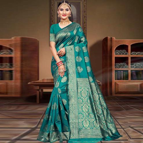 Excellent Turquoise Green Colored Festive Wear Woven Art Silk Saree