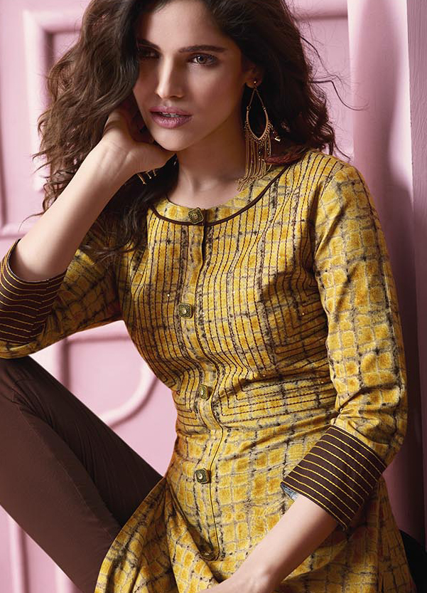 Attractive Yellow Colored Designer Partywear Printed Heavy Rayon Kurti