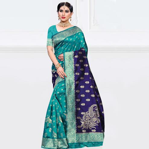 Gleaming Turquoise - Navy Blue Colored Festive Wear Woven Art Silk Saree