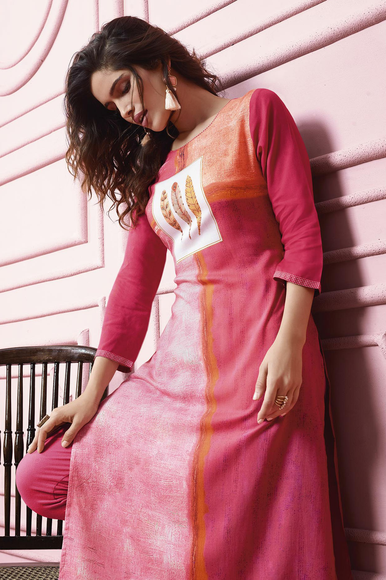 Gorgeous Pink Colored Designer Partywear Printed Heavy Rayon Kurti