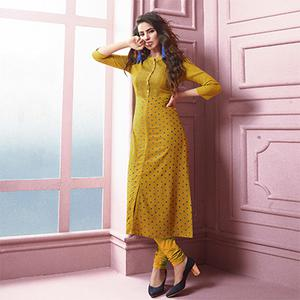 Ravishing Yellow Colored Designer Partywear Printed Heavy Rayon Kurti