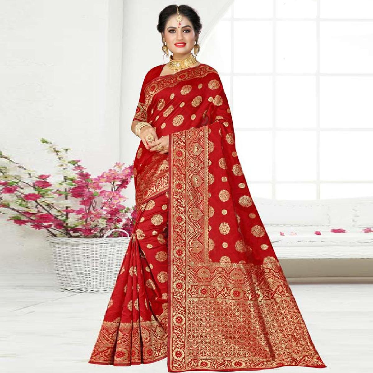 Charming Red Colored Festive Wear Woven Art Silk Saree