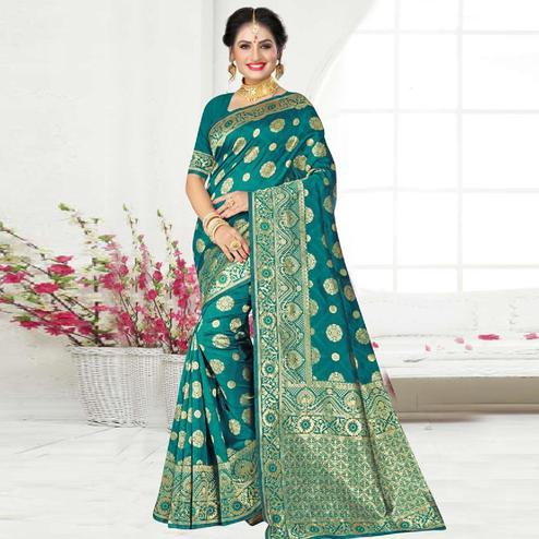 Engrossing Turquoise Green Colored Festive Wear Woven Art Silk Saree