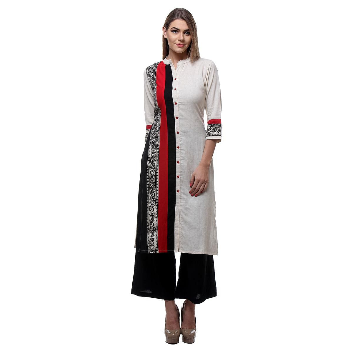 Off White - Black Printed Stitched Kurti
