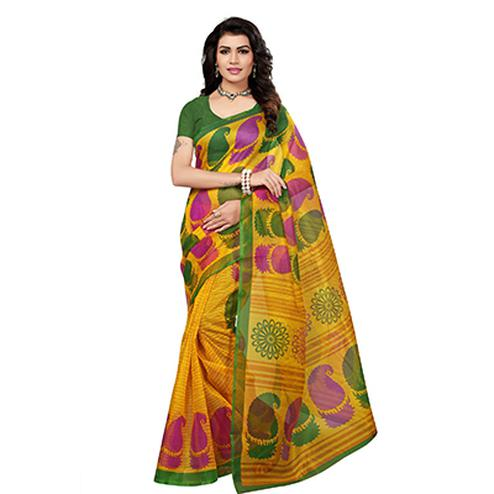 Yellow Printed Kota Doria Silk Saree