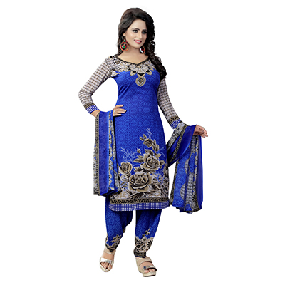 Blue - Grey Floral Printed Salwar Suit