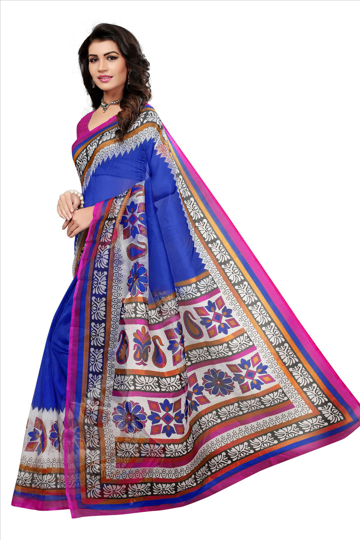 Blue Printed Kota Doria Silk Saree