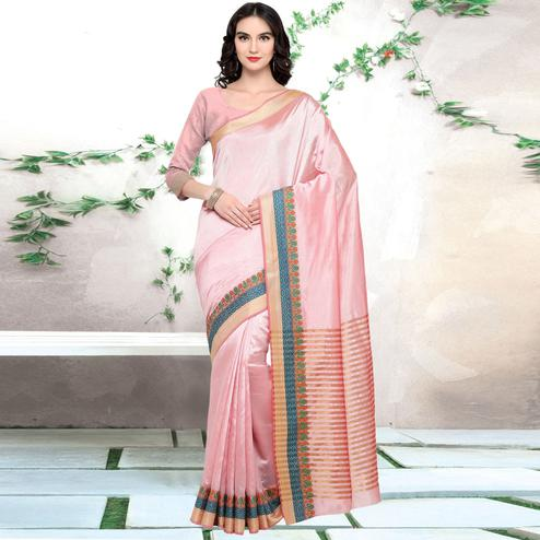 Triveni - Pink Color Silk Evening Party Wear Saree With Blouse Piece