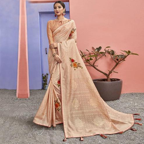 Triveni - Peach Color Chanderi Silk Casual Wear Saree With Blouse Piece