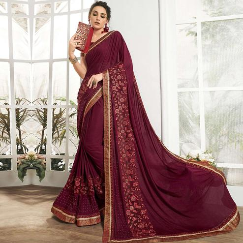 Triveni - Wine Color Lycra & Net Party Wear Saree With Blouse Piece