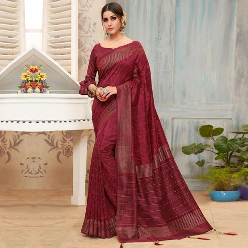 Triveni - Maroon Color Chanderi Silk Festival Wear Saree With Blouse Piece