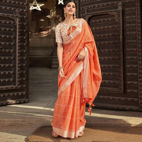 Triveni - Orange Color Jute Cotton Casual Wear Saree With Blouse Piece