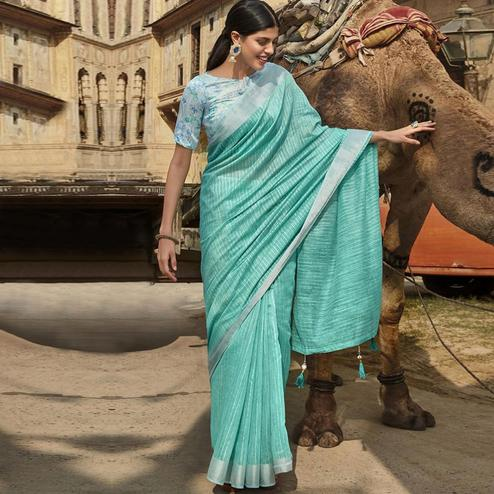 Triveni - Sea Green Color Jute Cotton Casual Wear Saree With Blouse Piece