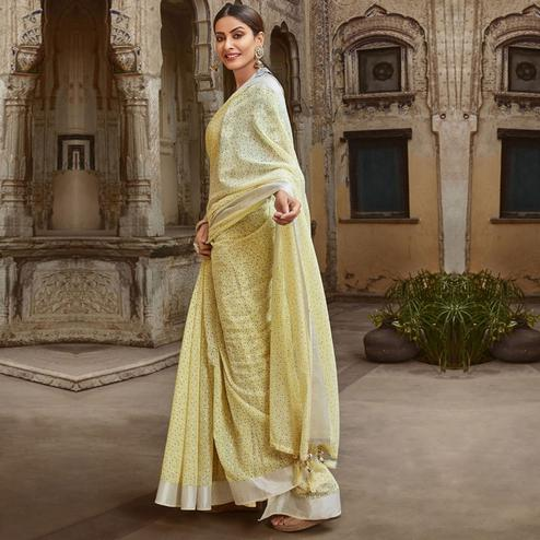 Triveni - Light Yellow Color Jute Cotton Casual Wear Saree With Blouse Piece