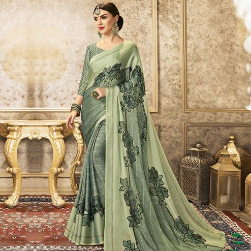 Triveni - Green Color Chiffon Party Wear Saree With Blouse Piece