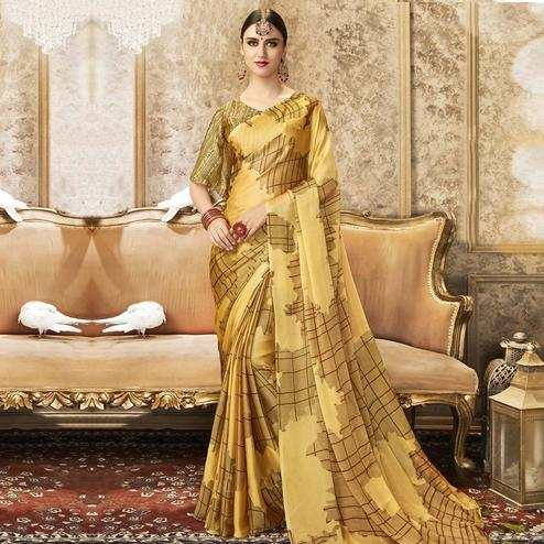 Triveni - Yellow Color Chiffon Party Wear Saree With Blouse Piece