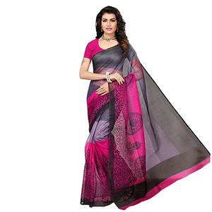 Gray-Pink Printed Kota Doria Silk Saree