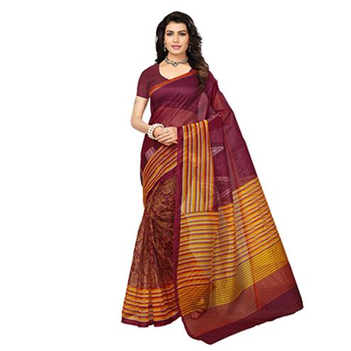 Maroon-Yellow Printed Kota Doria Silk Saree
