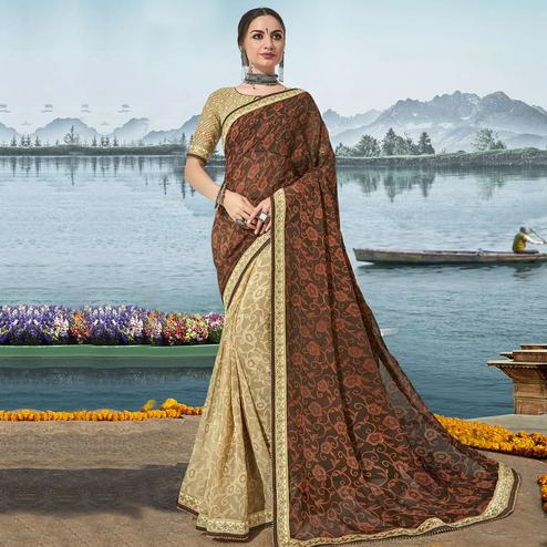 Triveni - Beige & Brown Color Georgette Festival Wear Saree With Blouse Piece