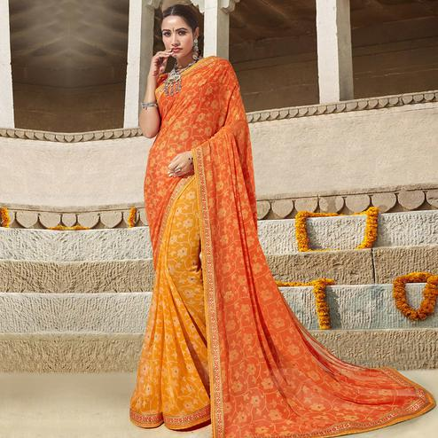 Triveni - Yellow & Orange Color Georgette Festival Wear Saree With Blouse Piece