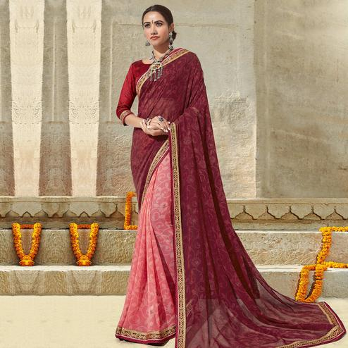 Triveni - Pink & Maroon Color Georgette Festival Wear Saree With Blouse Piece