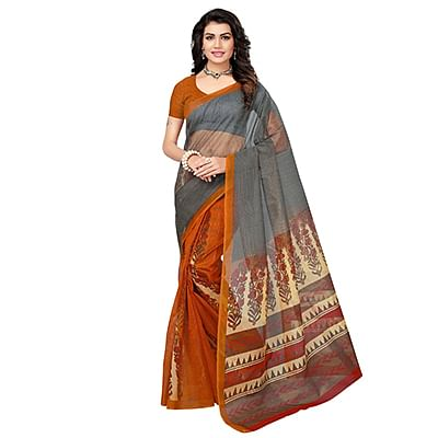 Gray-Yellow Printed Kota Doria Silk Saree