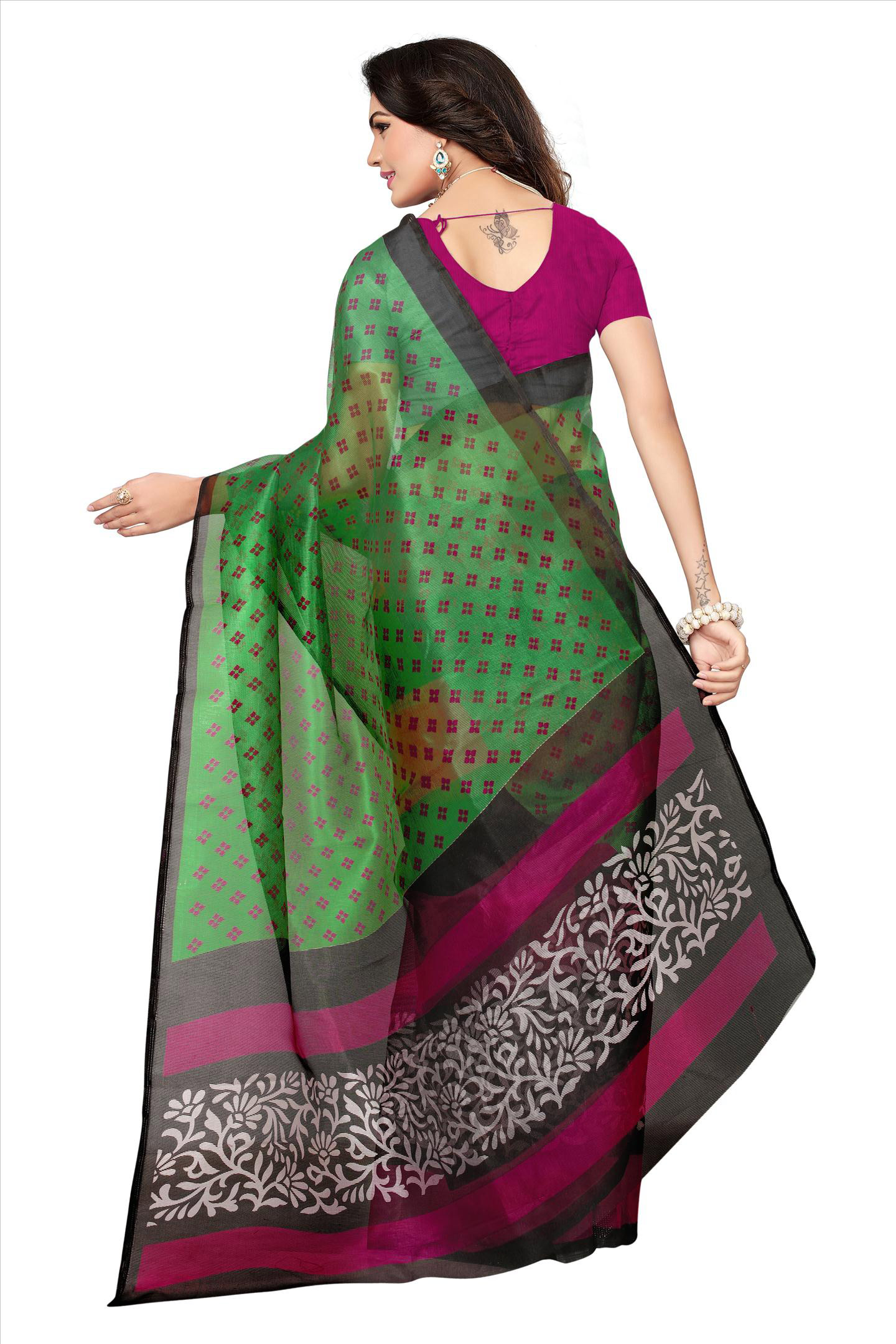 Green Printed Kota Doria Silk Saree