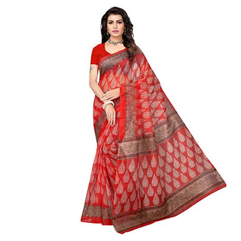 Red Printed Kota Doria Silk Saree