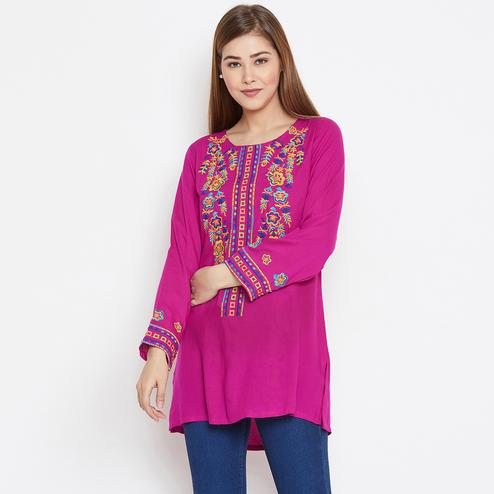 Aarudi Fashion - Women Pink Color Embroidered Rayon Tunic