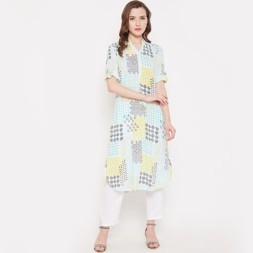 Aarudi Fashion - Women Turquoise Blue Color Printed Rayon Kurti