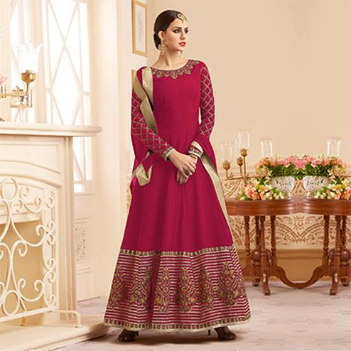 Pretty Pink Designer Embroidered Heavy Silk Abaya Style Anarkali Suit