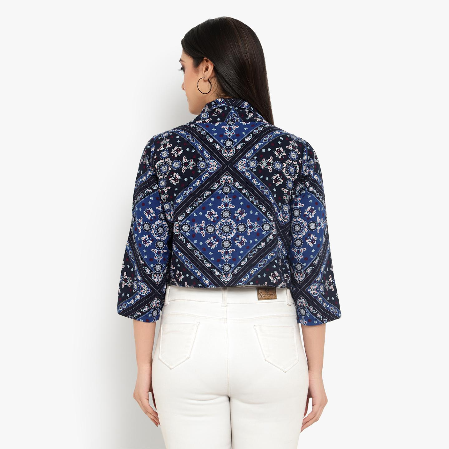 Ayaany - Blue Colored Casual Cotton Shrug
