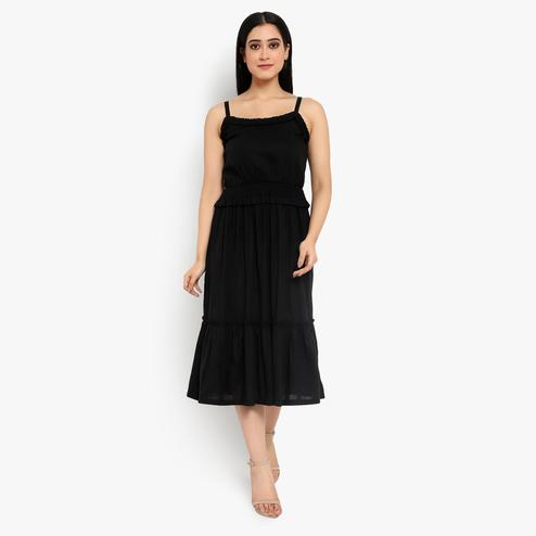 Ayaany - Black Colored Casual Cotton Dress