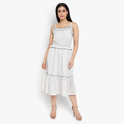 Ayaany - White Colored Casual Cotton Dress