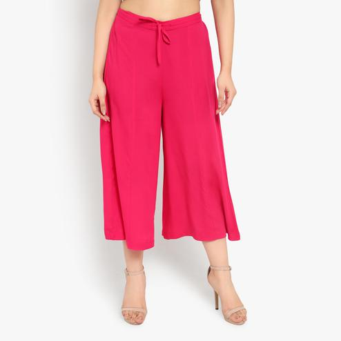 Ayaany - Pink Colored Casual Cotton Palazzo