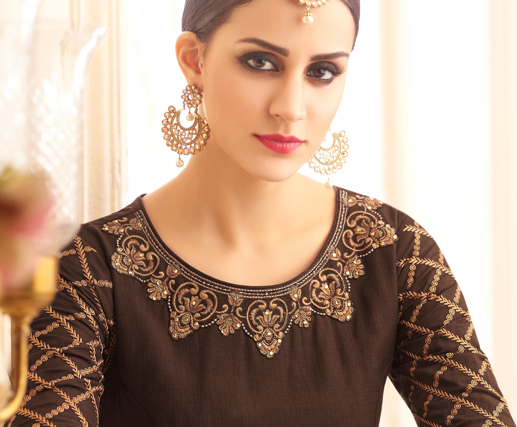 Ravishing Brown Designer Embroidered Heavy Silk Abaya Style Anarkali Suit