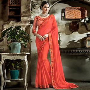 Orange Designer Embroidered Partywear Art Silk Saree