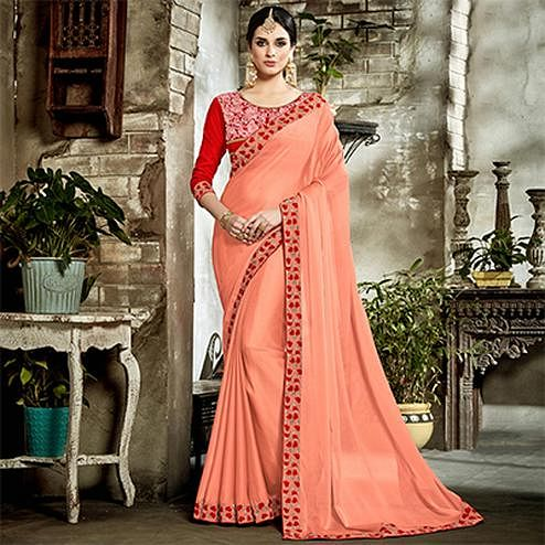 Peach Designer Embroidered Partywear Art Silk Saree