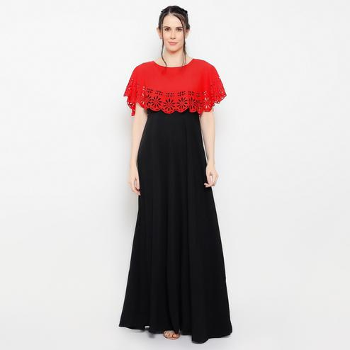 OMADAM - Red Black Colored Casual Crepe Dress