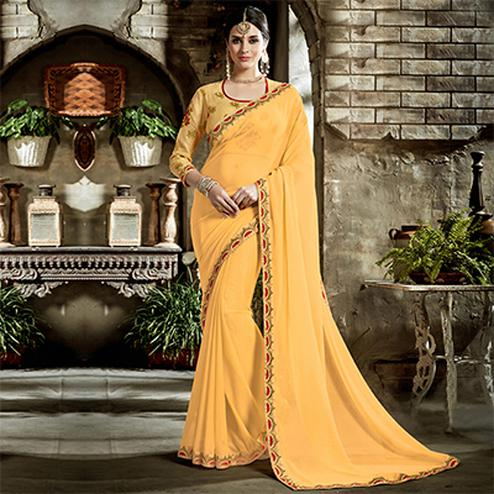 Yellow Designer Embroidered Partywear Art Silk Saree